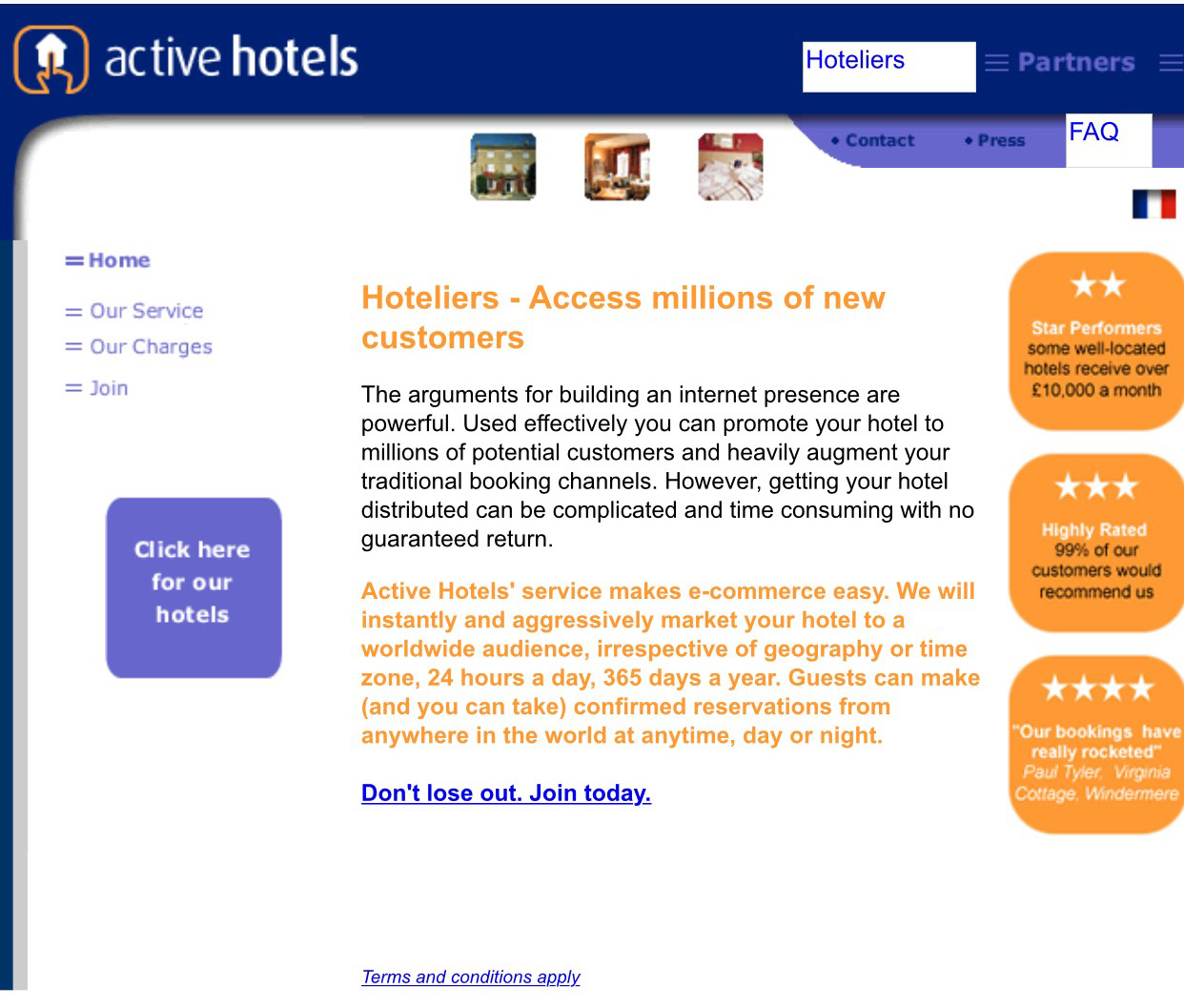 A screen shot of the Activebooking.com website on March 27, 2002. Courtesy Wayback Machine.