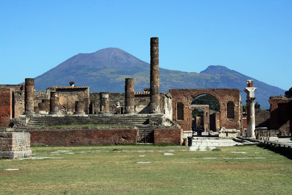 A piece of the archeological site in Pompeii crumbles after days of heavy rain