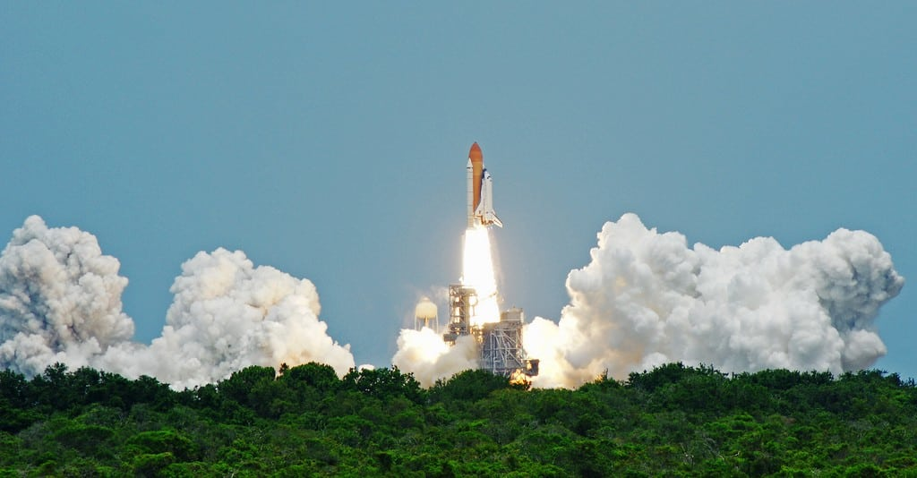 The space shuttle Atlantis launches in May 2009.
