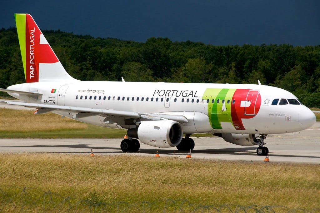 A TAP Portugal A319 aircraft sits outside Geneva Cointrin International Airport.
