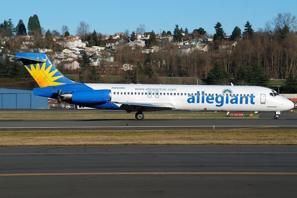 Allegiant flies an MD-87 in this photo from 2010.