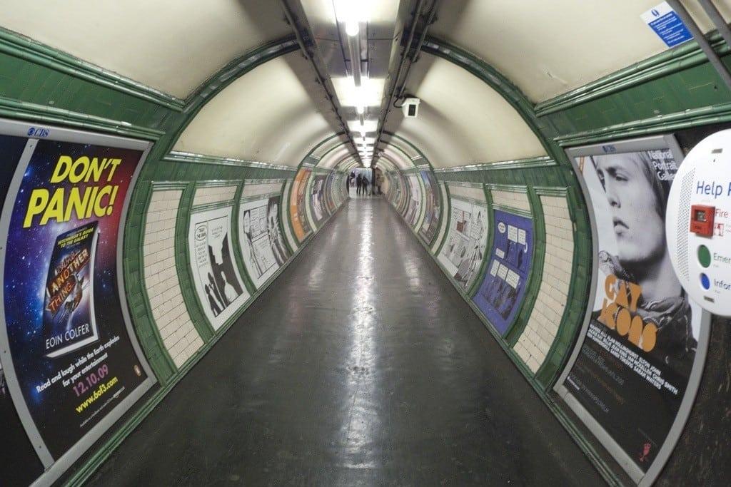 A passageway at a London tube station.