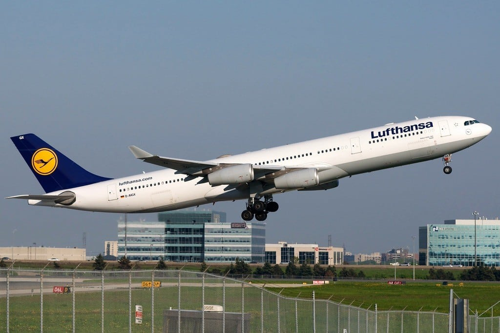 A Lufthansa A340-300 departs Lester B. Pearson Airport in Toronto.
