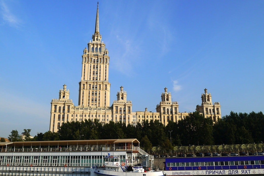 The Radisson Royal Hotel in Moscow rises above the city.