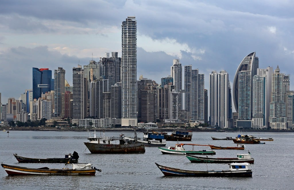 Panama City Skyline, seen October 16, 2012, is dominated by the dense construction.