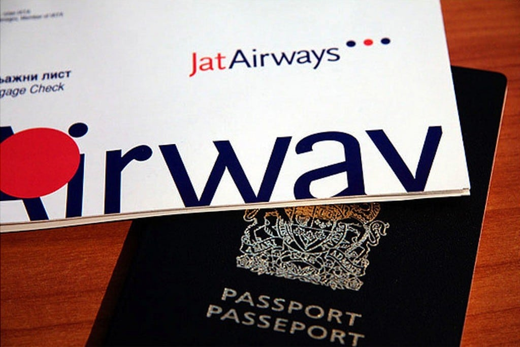 Tickets for a flight with the Serbian national carrier, JAT Airways.