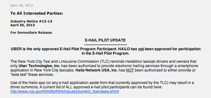 TLC email re: Hailo