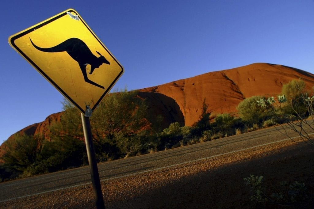 File photo of a road sign near Uluru (Ayers Rock), about 350 km (217 miles) southwest of the central Australian town of Alice Springs.