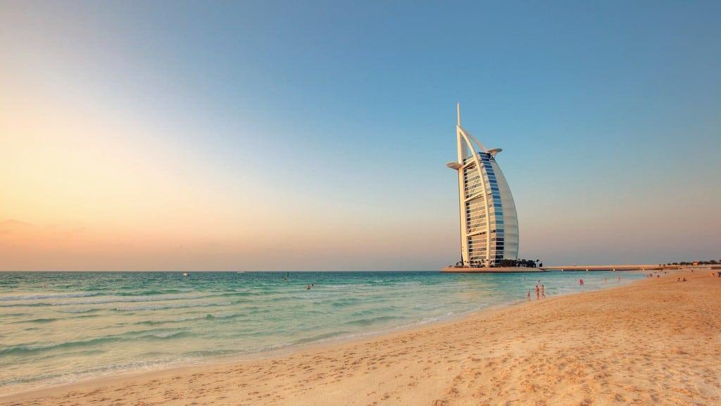 Jumeirah Beach Park in Dubai, with Burj al Arab hotel in the background.