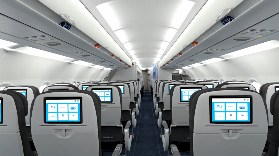JetBlue's new interiors for A321, cross country, coming 2014