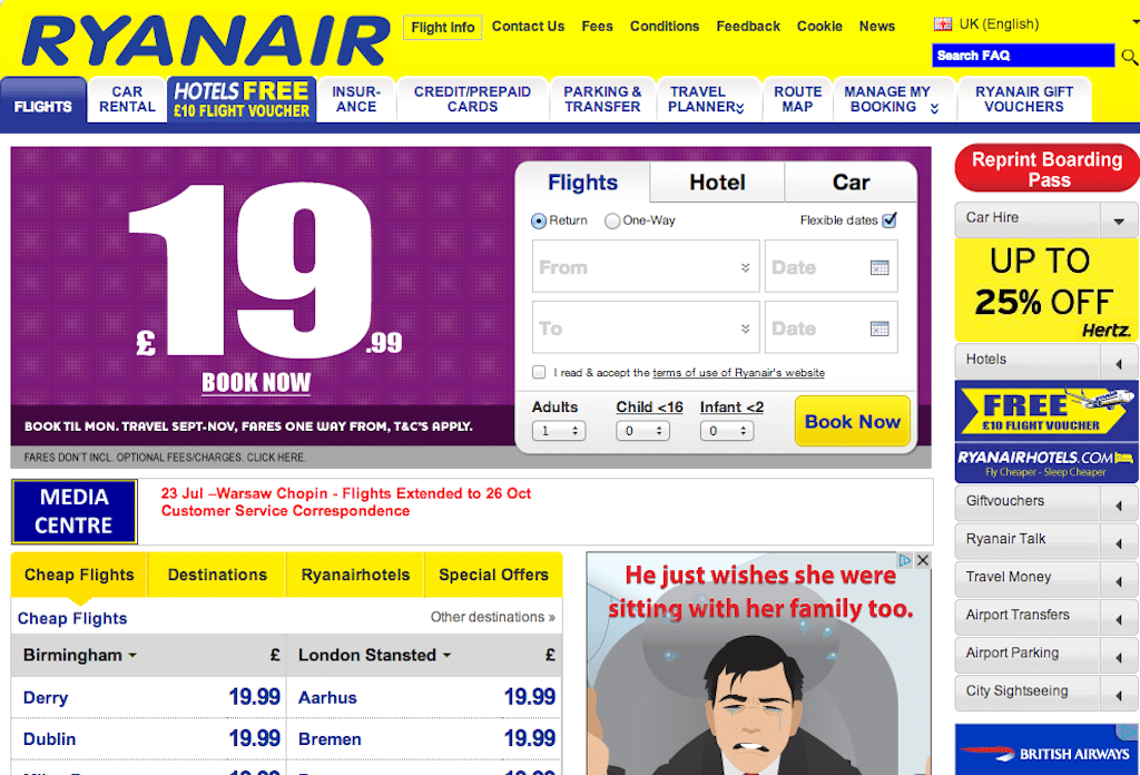Ryanair's website is all about another form of travel inspiration -- cheap prices. Could that GBP 19.99 Book Now image be any bigger?