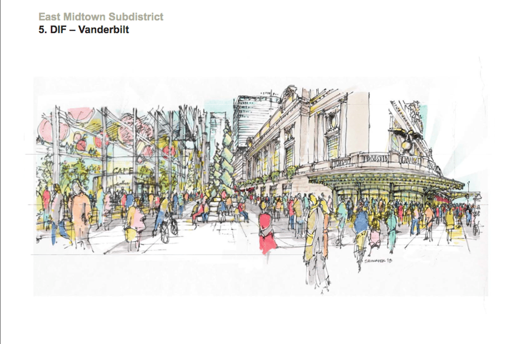 A rendering of possible improvements to pedestrian area along Vanderbilt Avenue in East Midtown. Photo Courtesty: New York City Department of City Planning.