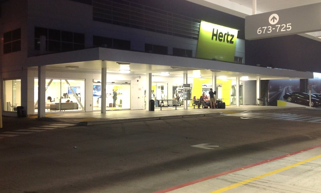 For night owls and others dropping off their cars before a redeye, this is the redesigned look of the exterior of the Hertz car rental location at San Diego Airport.