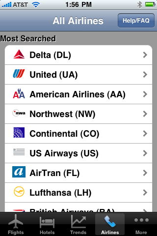 Kayak's 2009 iPhone app conveniently displayed its most-searched airlines. Several of them, including Northwest and Continental, no longer exist as brands. AirTran is on its way out, and American Airlines-US Airways is an antitrust question mark.