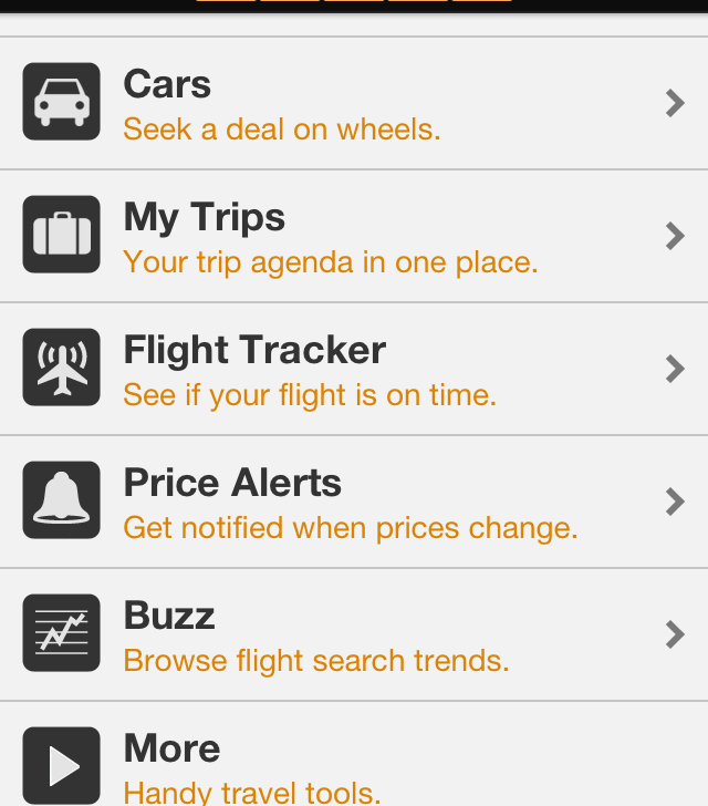 In Version 26.0.4 of Kayak's iPhone app, updated on September 10, 2013, here's the lineup of features, ranging from hotels to flight tracker, price alerts and airline fees.