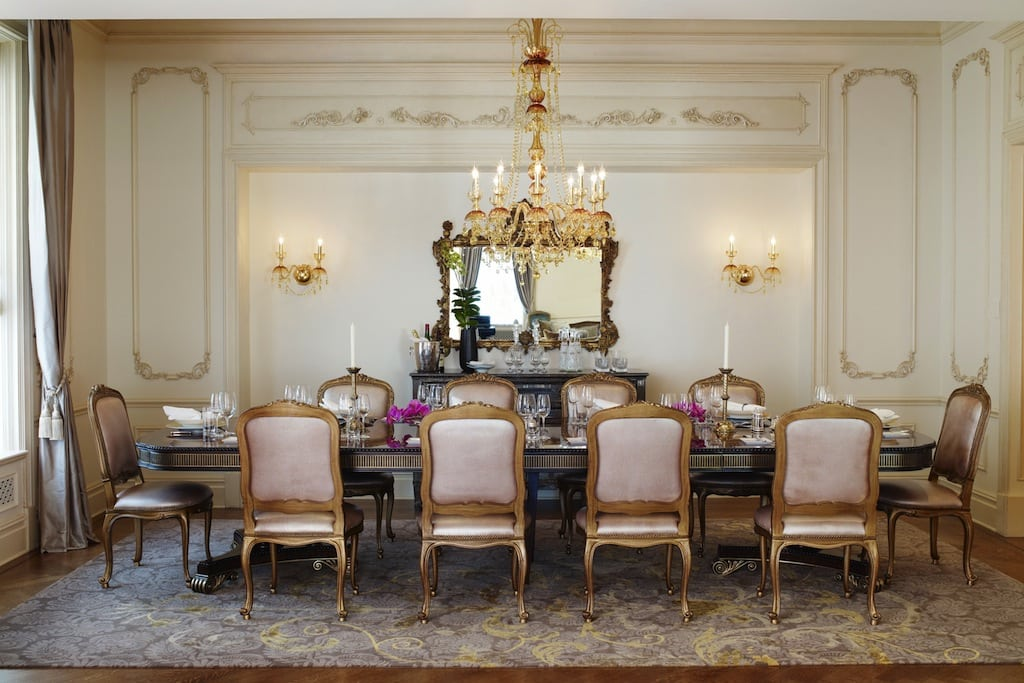 "It costs $30,000 a night for hotel guests to feel as through they are amidst the royal court of Louis XV at The Plaza Hotel's Royal Plaza Suite. Guests can overlook Fifth Avenue or host a party of twelve in the dining room after dinner is prepared in a state-of-the-art kitchen that the hotel describes as ""ideal"" for guests who travel with a personal chef."