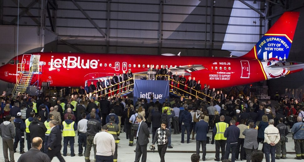 JetBlue CEO Dave Barger and FDNY Commissioner Salvatore Cassano revealed this aircraft to JetBlue crewmembers, friends and family and FDNY personnel on October 23 at JetBlue's JFK Hangar.