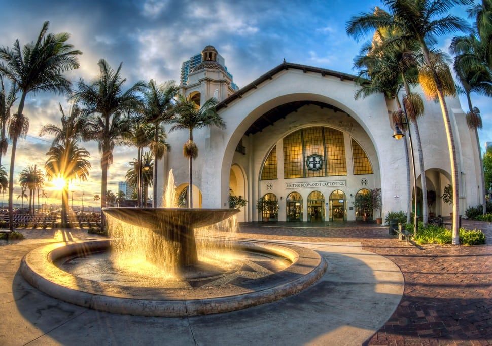 "Santa Fe Depot, San Diego: Union Station, also known as the ""Santa Fe Depot,"" has served residents and visitors to San Diego for almost 100 years. Located in the heart of downtown near the cruise ship piers and other bayside attractions, the station anchors the larger Santa Fe Place, named after the Atchison, Topeka, and Santa Fe Railroad (ATSF) that conceived and built the station from 1914–1915."