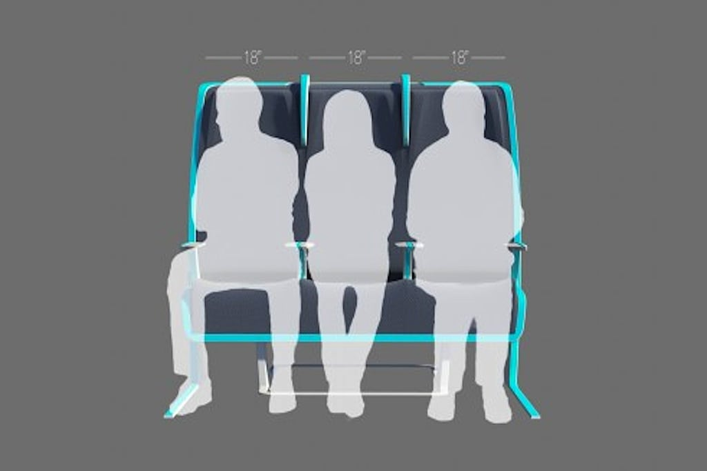 This is the standard seat formation in which every passenger is given the same amount of space, regardless of size.