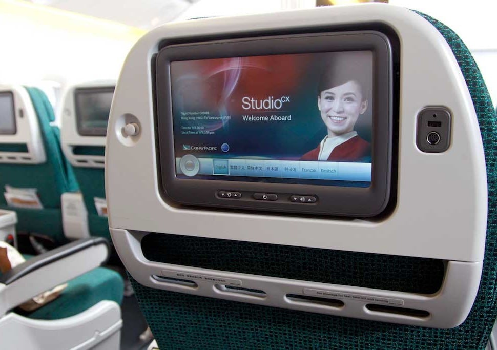 Seat back entertainment in Cathay Pacific's Premium Economy section.