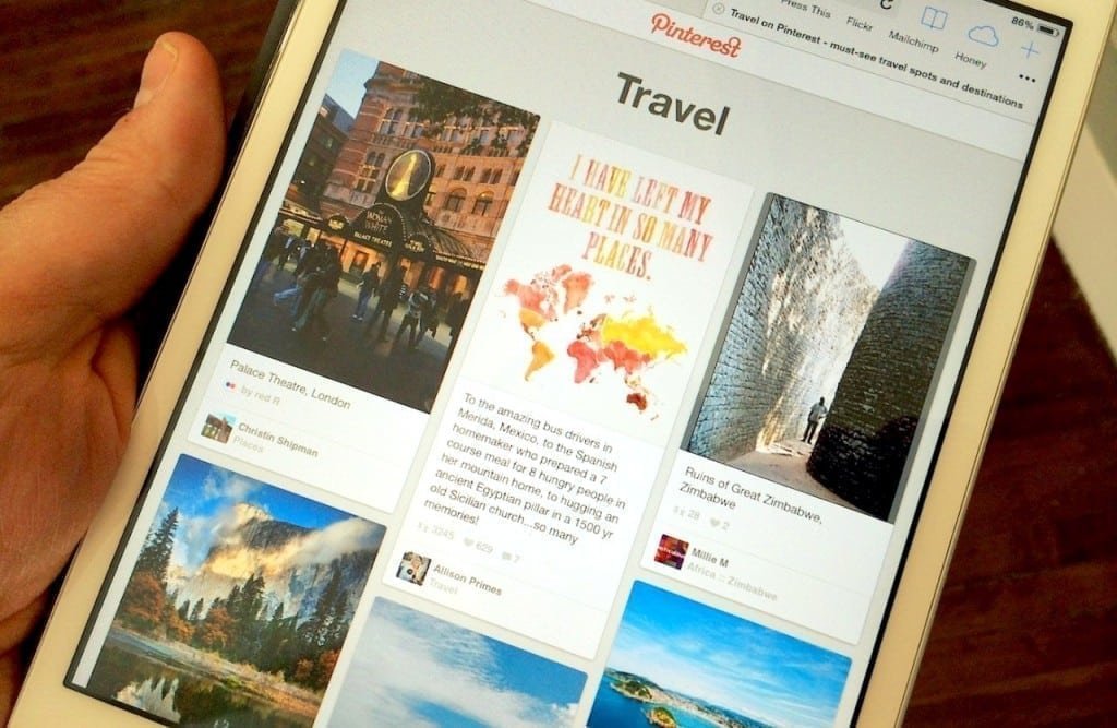 The existing travel category on Pinterest.