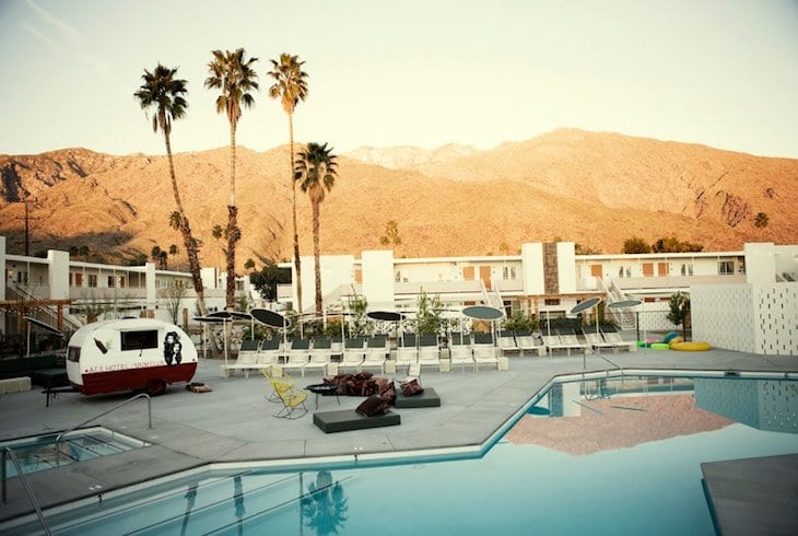 Palm Springs, California is included within the context of its retro attractions at hotels like Ace Hotel and Swim Club.