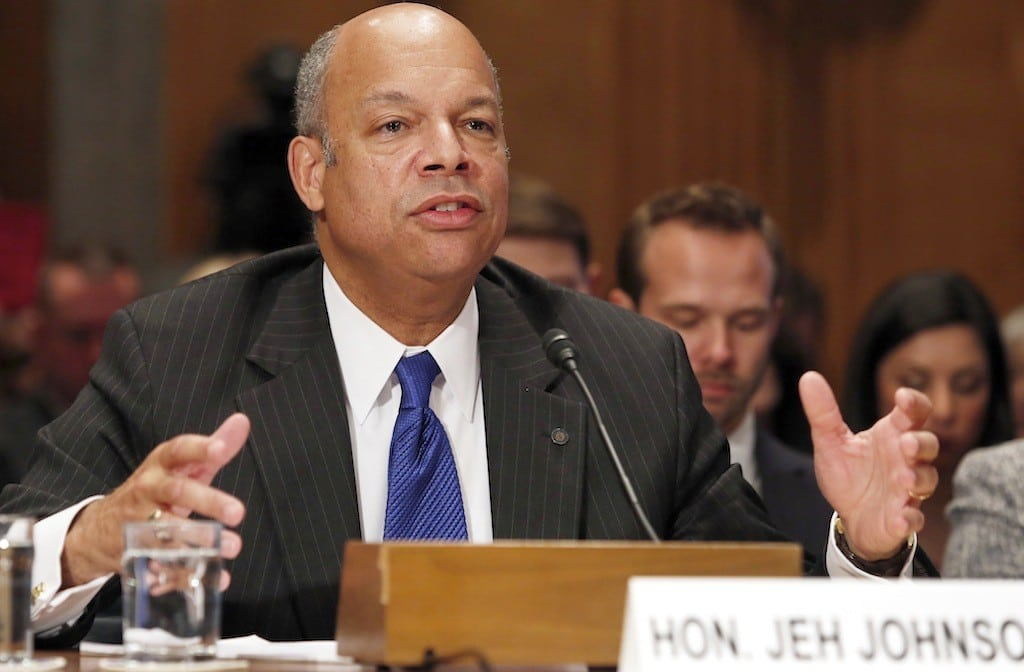 Jeh Johnson testifies before the Senate Homeland Security and Governmental Affairs Committee confirmation hearing on his nomination to be the Homeland Security Secretary on Capitol Hill in Washington November 13, 2013.