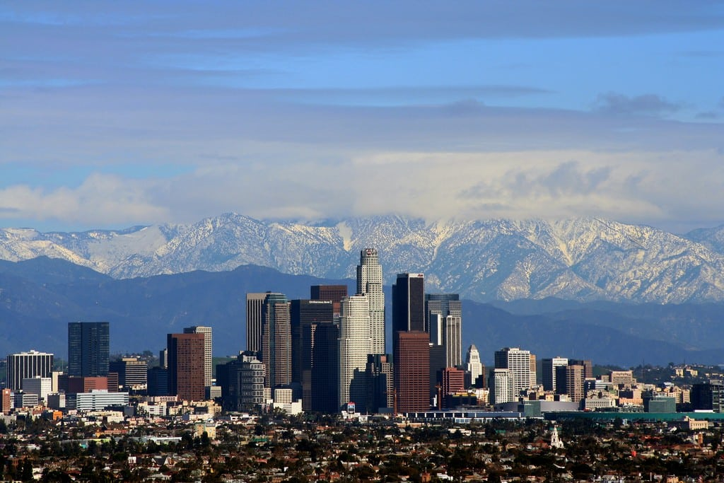 A view of Los Angeles from afar.