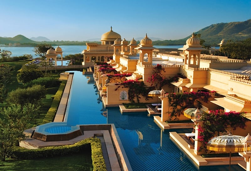 The Oberoi Udaivilas in  Udaipur, India, is designed after a traditional Indian palace. It includes courtyards, fountains, reflection pools, and gardens for guests to explore.