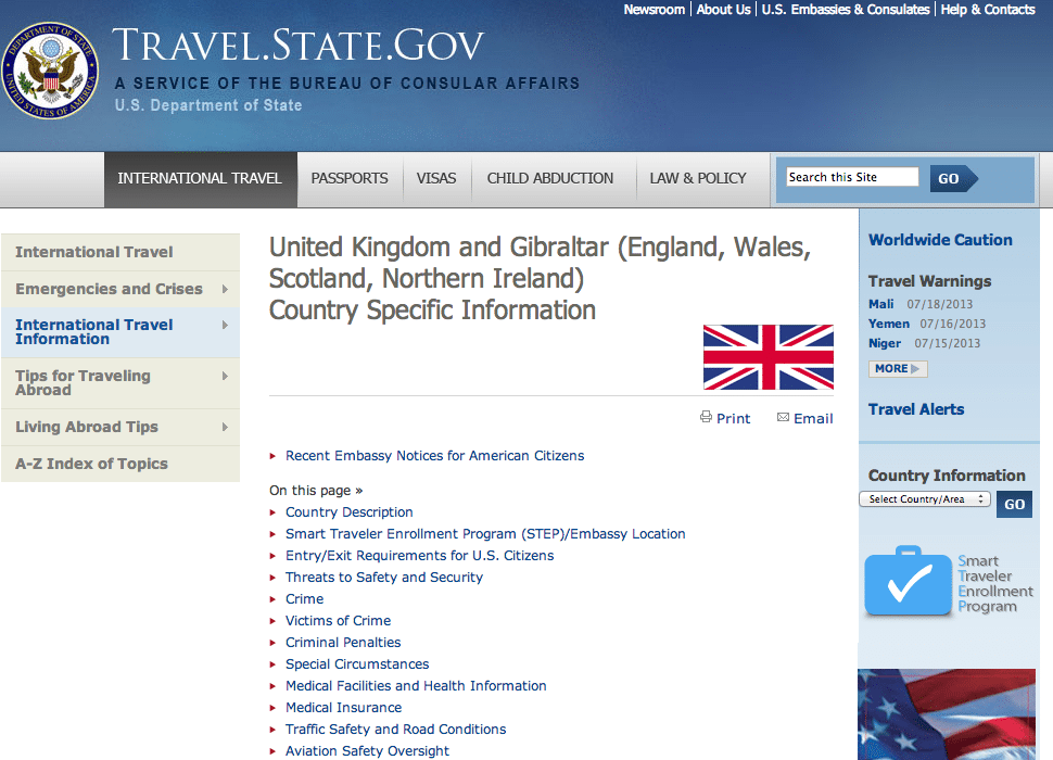 The old country specific information page for the United Kingdom on travel.state.gov.