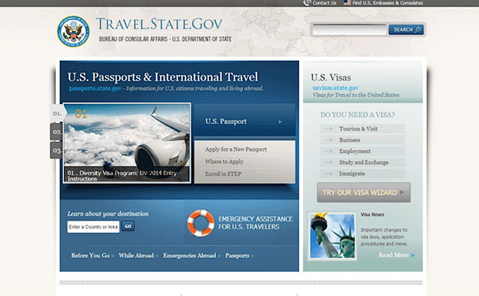 The new homepage of Travel.State.Gov.