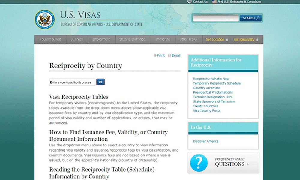 The well-organized visa reciprocity page on the new travel.state.gov.