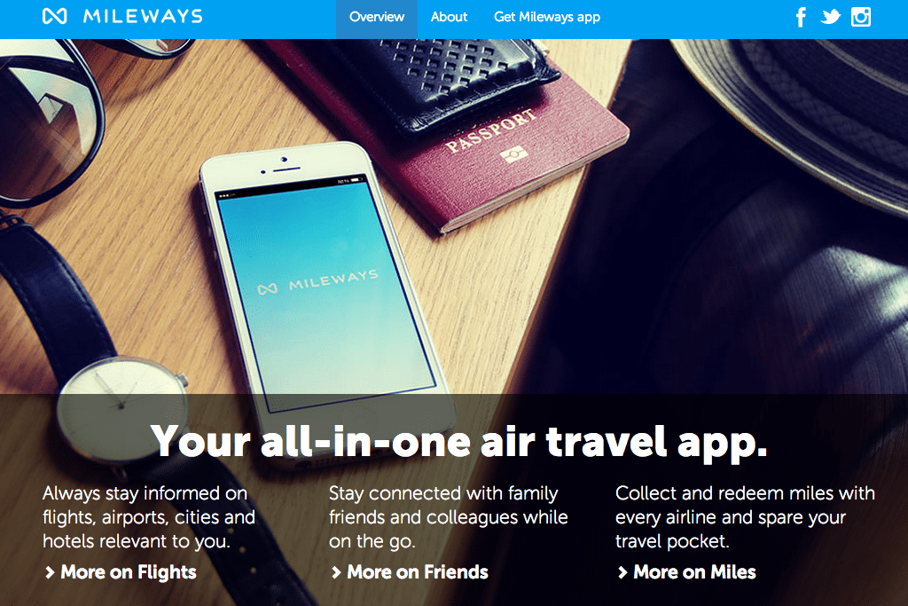 Mileways is an air travel app that stores information on future flights, alerts users to changes in flight departures, tracks mileage points across airlines, and allows users to follow friends' trips.