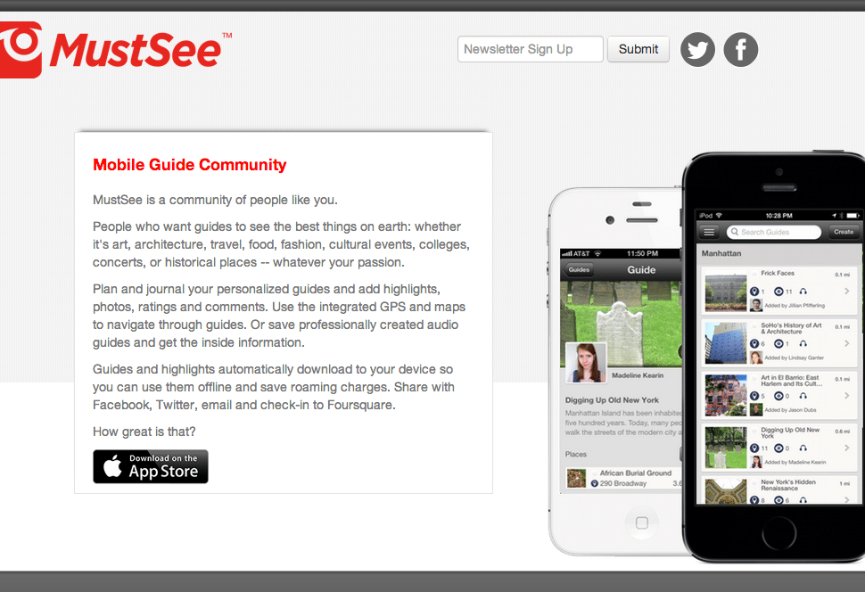 MustSeeis a platform for creating, selling, and buying mobile audio guides to museums, exhibitions, neighborhoods, and cultural institutions.