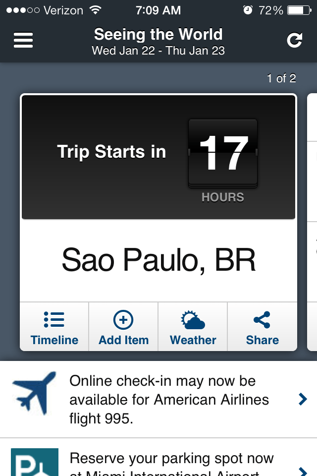 Notifications about a pending trip. VerbalizeIt/TripCase