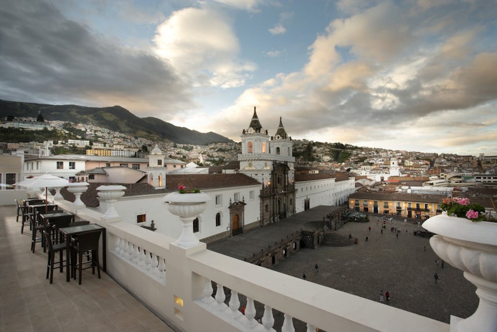 Casa Gangotena is a restored historic mansion that overlooks a plaza in Ecaudor's capital, Quito.