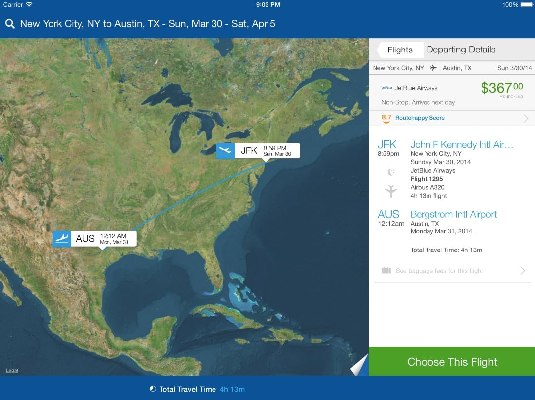 JetBlue flight 1295 from JFK to Austin gets an 8.7 Routehappy Score in Priceline's Hotels, Flights and Cars app for iPad.