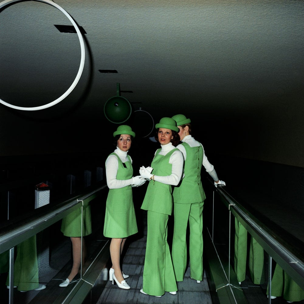 Paris-CDG's green uniformed hostesses.