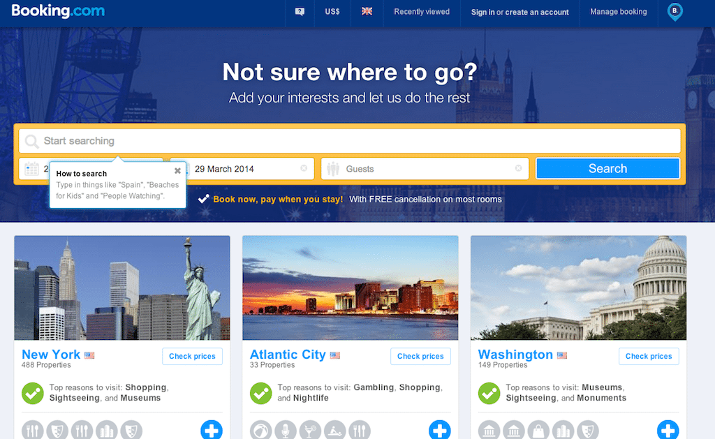 Booking.com's Inspire Me feature enables travelers to choose trip types from art to beach, view destinations with the most user endorsements, or alternately search for vacations by tags.