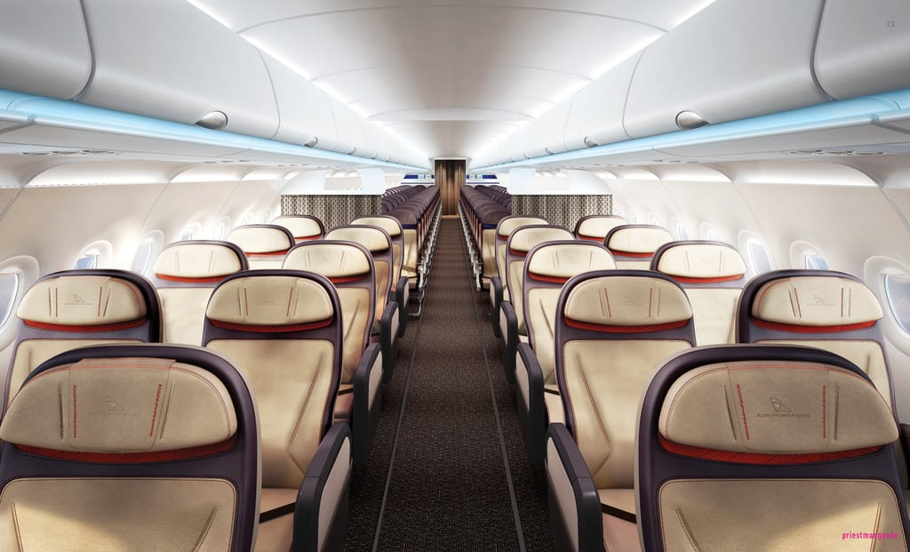 Business class on South African Airways newly designed short-haul Airbus planes.