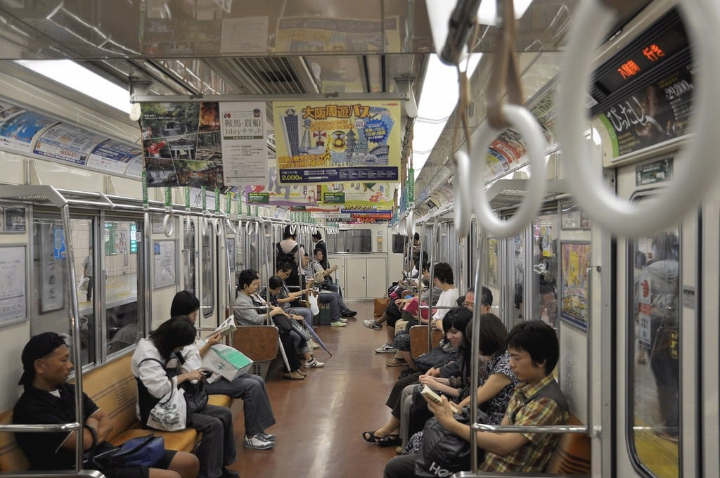 Osaka wants to sell shares of the subway system to the public, and then privatize it. Pictured, the subway cars in Osaka are sure full of advertising, as shown on August 29, 2009.