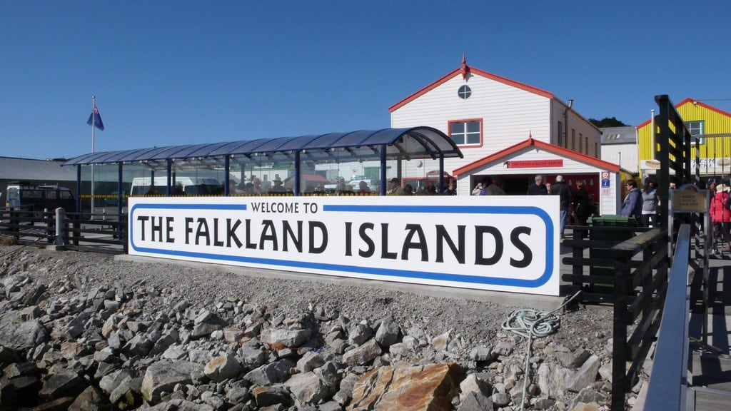 A large welcoming sign at the public jetty at Stanley, the capital of the Falkland Islands.