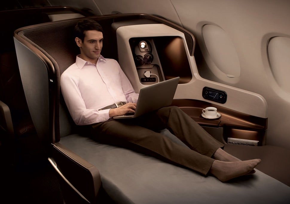 Business class on Singapore Airlines.