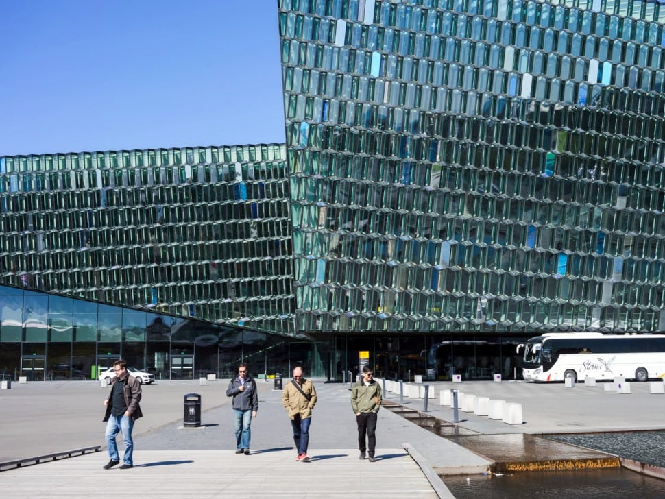 Visiting the amazing Harpa convention and cultural center in Reykjavik.