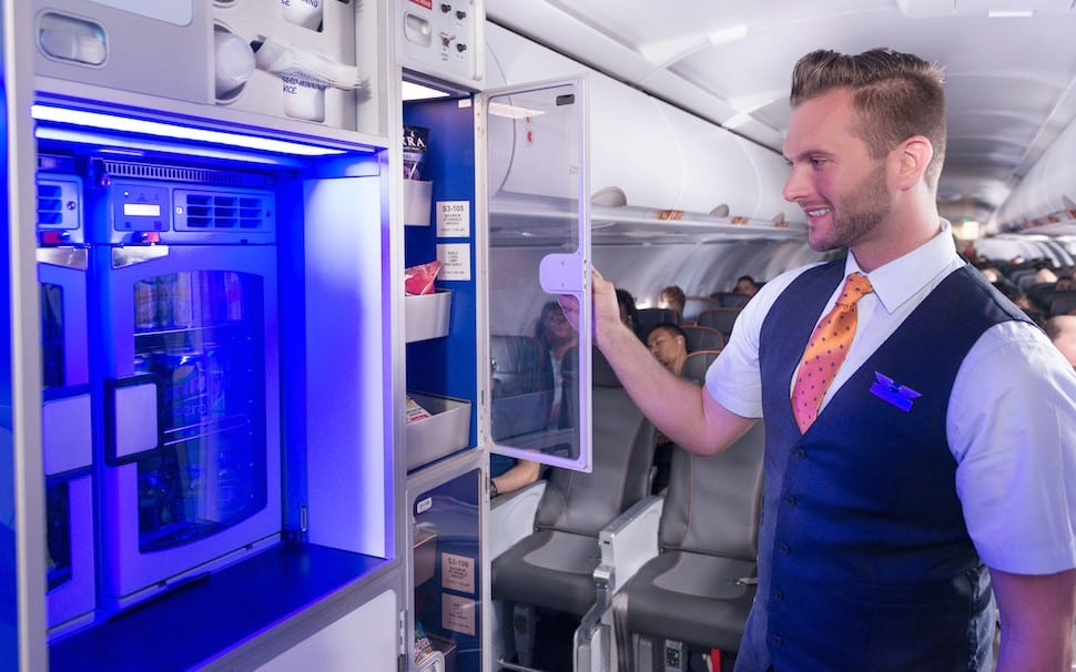 In a bow to the passengers in coach seats, which JetBlue calls core seats, the A321s with Mint service will feature a Marketplace, where passengers can take snacks and soft drinks for free. JetBlue