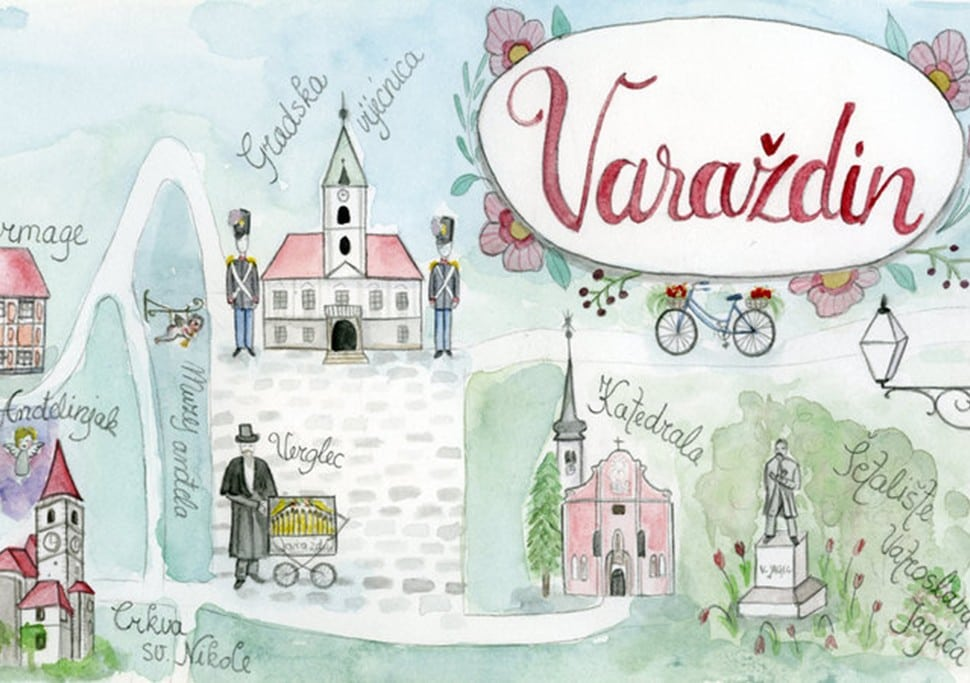 Photography is wonderful, but sometimes illustration tells a better story, like you see in this detail of a map of Varaždin, Croatia by Martina Višnjić.