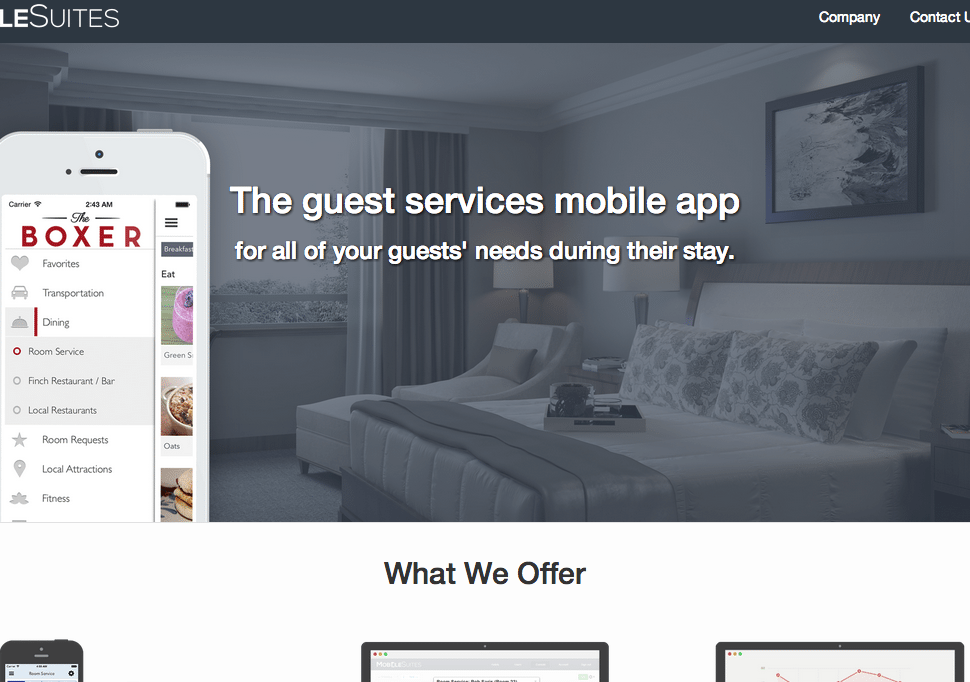 MobileSuites is a hospitality app that lets guests access hotel services including room service and transportation directly via their smartphone.