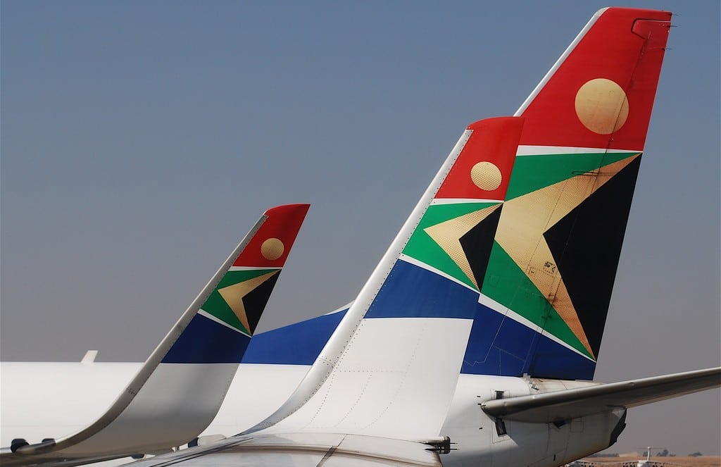 South African Airways jets sit on the tarmac at Johannesburg International Airport.