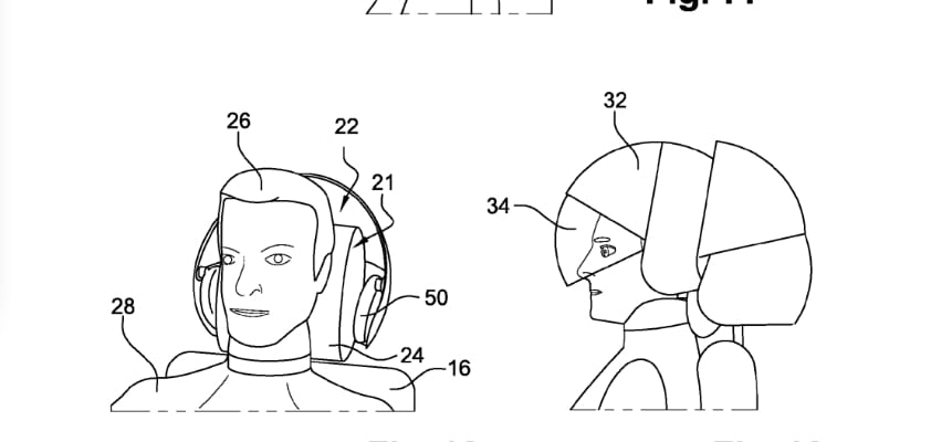 Airbus Headrest for a passenger seat for an aircraft, US 8814266 B2