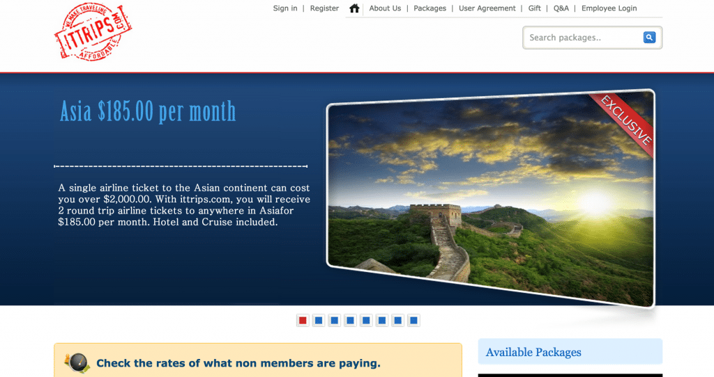 I.T.Trips is a monthly subscription service for low-cost airfares.